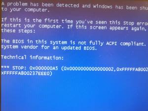 The BIOS is not fully ACPI compliant!???? - Windows XP Support